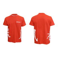 Футболка красная с белой отделкой с иероглифами от CFMOTO