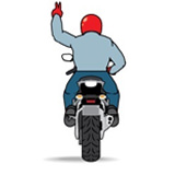 Знак построения в два ряда мотоциклист