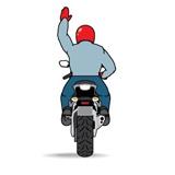 Знак следуй за мной мотоциклист