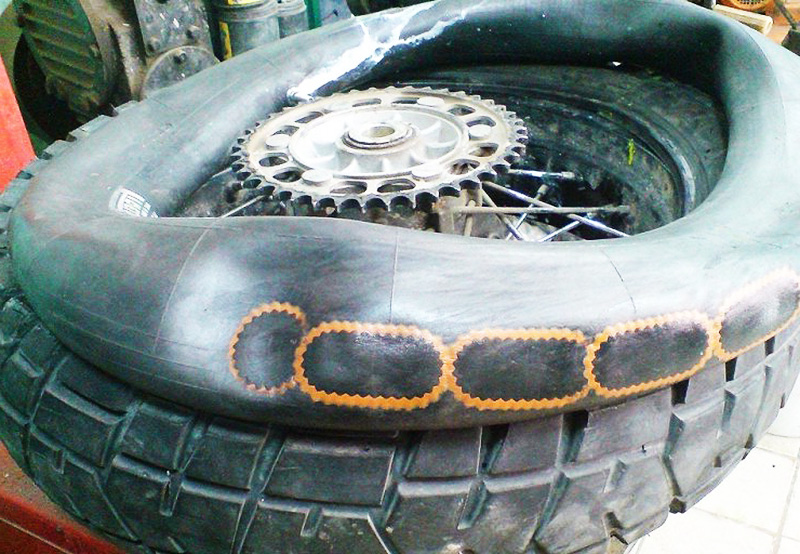 Ремонт камерных шин мотоцикла