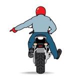 Знак помехи на дороге мотоциклист