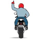 Знак построения в один ряд мотоциклист